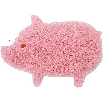 オーエ キッチン スポンジ ピンク ぶた 約縦7.4×横10.5×高さ3.6cm cf まるいボディ にぎりやすい Sponge