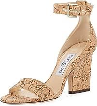 JIMMY CHOO Edina Etched Cork Ankle-Wrap Sandals Shoes 36.5 Tan