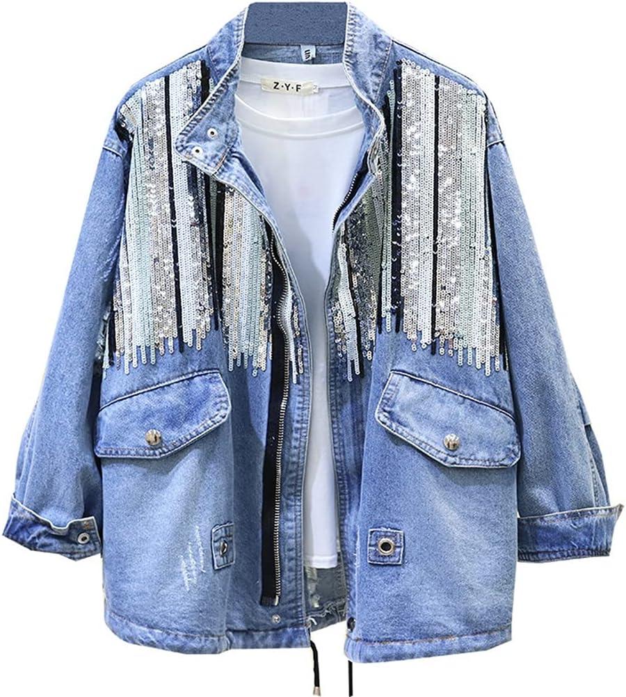 YFQHDD Sequins Denim Jacket Women Bomber Jacket Fashion Long Sleeves Coats Vintage Hippie Jeans Jacket (Color : Blue, Size : L Code)