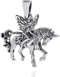 Wood Fairy Riding Unicorn .925 Sterling Silver Pendant
