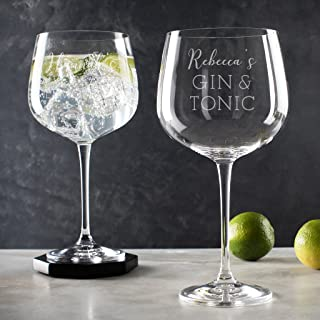 Personalized Gin and tonic Glass - Birthday Anniversary Gift - Gin Lovers Gifts for Women - Engraved Gin Balloon Glass