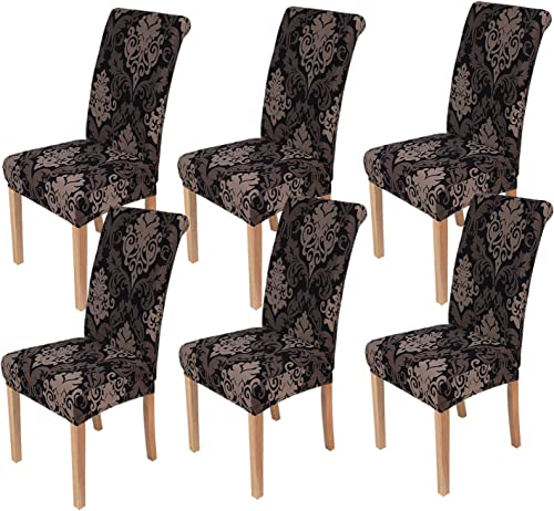 smiry 6 Pack Printed Dining Chair Covers, Stretch Spandex Removable Washable Dining Chair Protector Slipcovers for Ho...