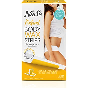 Nad's Body Wax Strips - Natural All Skin Types - Wax Hair Removal For Women - At Home Waxing Kit With 30 Body Waxing Strips & Post Wax Oil