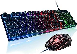FLAGPOWER Gaming Keyboard and Mouse Combo, Rainbow Backlit Mechanical Feeling Keyboard with 4 Colors Breathing LED Backlig...