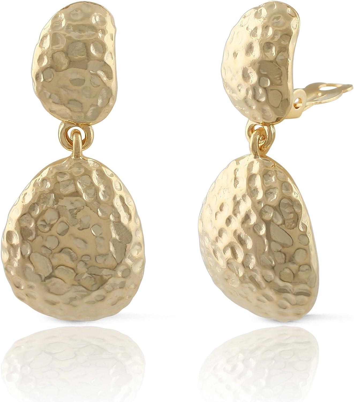 JanKuo Jewelry Matte Gold Hammer Clip On Earrings