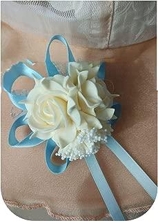Wedding Decoration Mariage Rose Wrist Corsages Hand Flower Silk Lace Pe Foam Artificial Brides Bridesmaid Wrist Flower Christmas,Champagne Sky Blue
