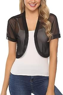 Women Short Sleeve Sheer Chiffon Shrug Open Front Bolero Cardigan