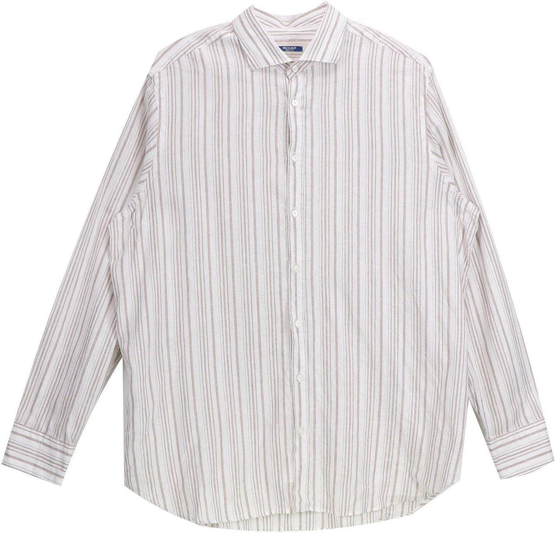 Taccaliti Men's Barcode Stripes Dress Shirt Casual Button-Down