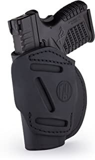 1791 GUNLEATHER 4-Way XDS Holster - OWB and IWB CCW Holster - Right Handed Leather Gun Holster - Fits Springfield XDS, S&W MP9 Shield, Ruger SR9c, LC9, SR40 and Walther PPS