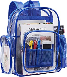Heavy Duty Clear Backpack, Transparent PVC Backpacks with Laptop Compartment, Large Multi-Pockets Backpacks for Travel, Security Check, Sporting Events (Blue)