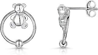 Amberta - Coppia di orecchini a perno in argento Sterling 925, a forma di anello, con anello