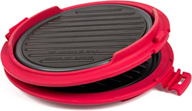 B.Bad 70120- Grill para microondas redondo, color negro y rojo