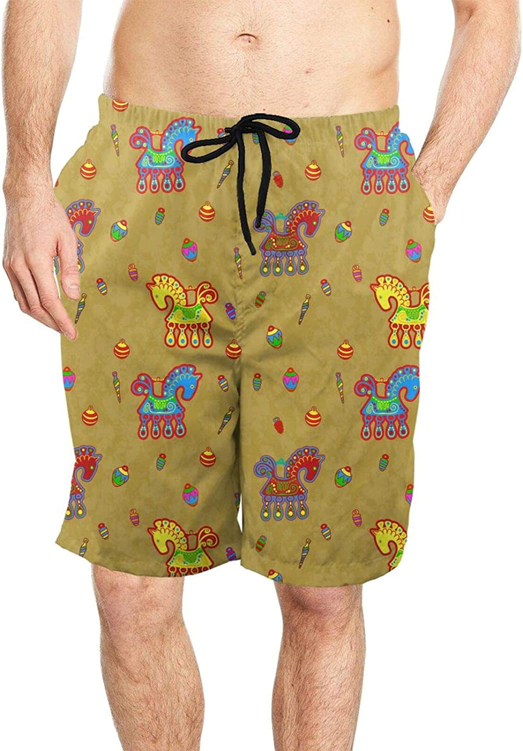 DASMUS Horse and Toys Folk Art Mens Quick Dry Beach Board Shorts Swim Trunks with Mesh Lining