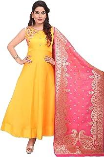 382092699f RANGAT Madhubala Art Silk Salwar Suit with Machine Embroidery & Heavy  Banarasi Silk Dupatta(Yellow