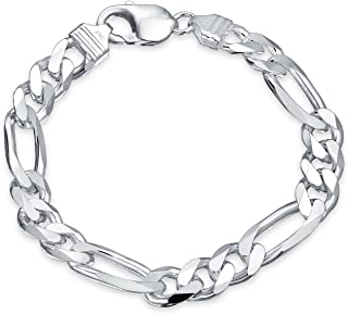Mens Figaro Link Bracelet For Women Engravable 250 Gauge Heavy Polished 925 Sterling Silver Made In Italy