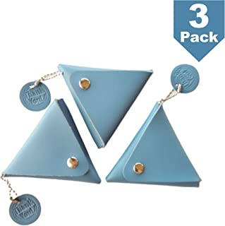 3 Pcs Blue Coin Triangle Purse Bag Case Pouch Wallet Purse Case Leather Earbud Holder Headphone Organizer Small Handle Handmade Craft Kids for Gift Presents Adults with Thank You Tag