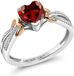 Gem Stone King 925 Silver & 10K Rose Gold Diamond Ring 0.91 Ct Heart Shape Red Garnet