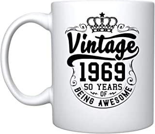 Veracco Crown Vintage 1969 50 Years Of Being Awesome Ceramic Coffee Mug 50th Birthday Gift For Him Her Fifty and Fabulous (1969, Ceramic Mug)
