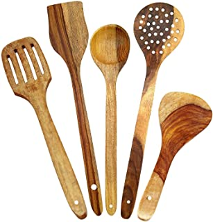 DECORVAIZ Wooden High Quality Premium Wooden Spatula and Ladle Cooking & Serving Spoons - Set of 5