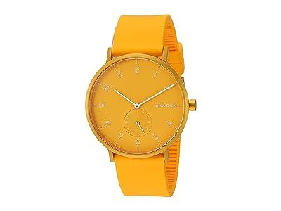 Skagen Aaren Kulor 41mm Three-Hand Silicone Watch (SKW6510 Yellow Silicone) Watches