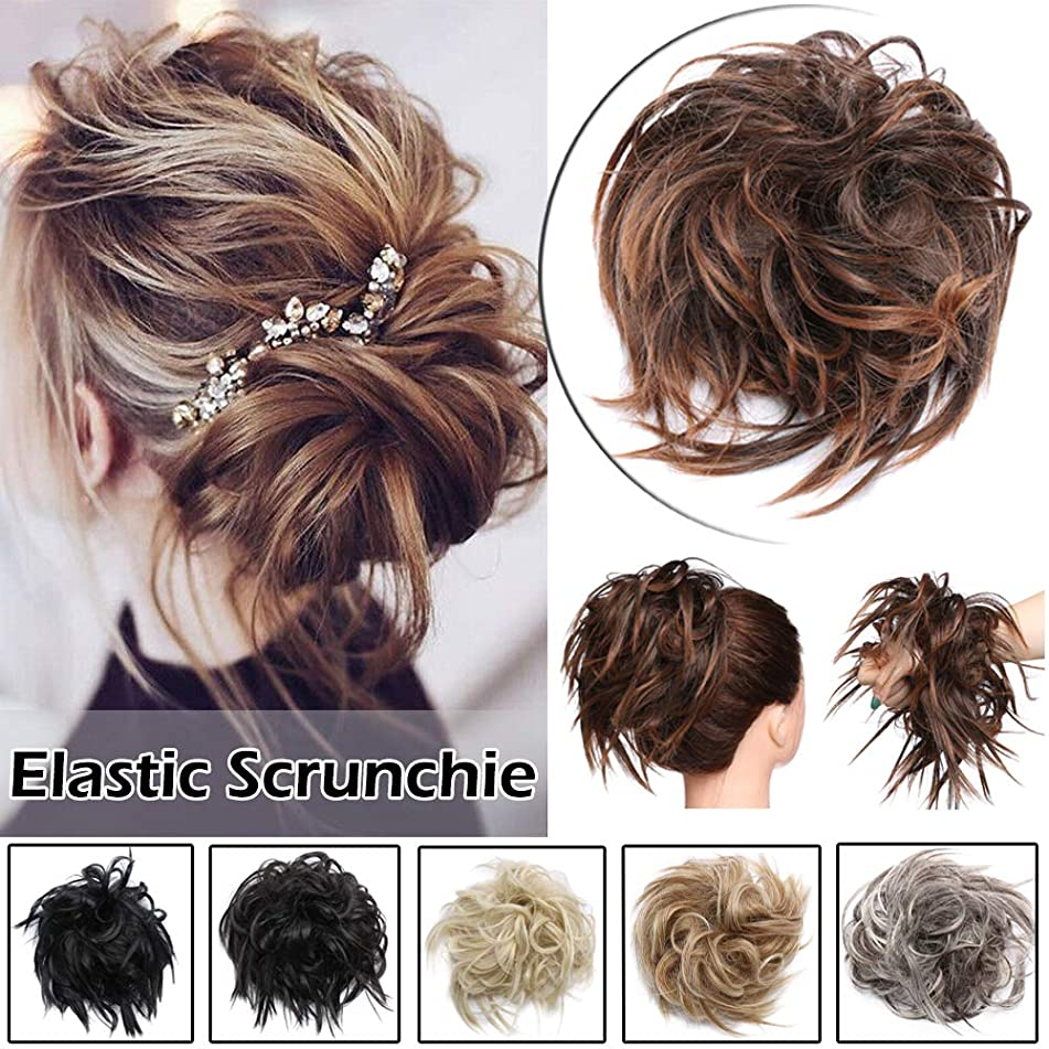 Fluffy Tousled Scrunchie Hair Bun With Elastic Rubber Band Premium Wrap On Hair Extensions Updo Chignon Donut Messy Ponytail Hairpiece Synthetic Wavy For Women(LIght Auburn Mix Dark Brown)
