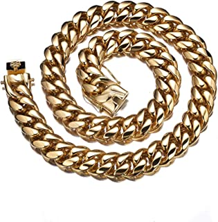 Just Steel Cuban Link Chain Choker 18K Real Gold Plated| 14mmFine Finished Masculine Stainless Steel Gold Chians for Men 18'' - 24''