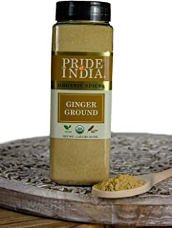 Pride Of India- Organic Ginger Fine Ground- 12 oz (340 gm) Large Dual Sifter Jar - Certified Organic Indian Spice - Best for Pickles, Cookies, Desserts, Teas etc - Offers Best Value For Money
