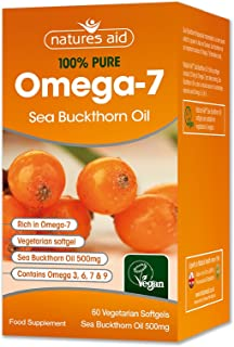 Natures Aid 100% Pure Omega-7 Sea Buckthorn Oil 500mg 60 Vegetarian Softgels