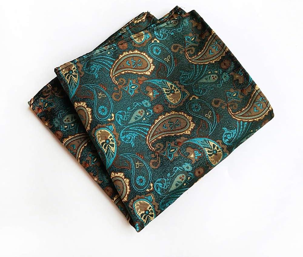 He-art Man's Dress Hankies Pocket Squares Men's Dresses Classic Paisley Handkerchief Pocket Decoration 10x10 Inch Assorted Set,1