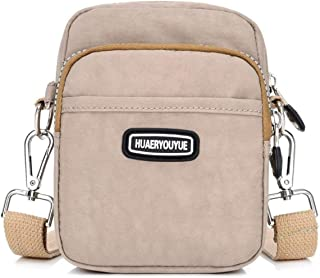 Travel Essential, Stylish and Durable Shoulder Waterproof Diagonal Nylon Small Belt Bag (Color : Apricot, Size : 17x6x12cm)