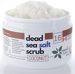 Organic Coconut Body Scrub - 12 oz Dead Sea Salt Body Exfoliating Scrub with 100% Natural Organic Botanics - Handmade in Canada (Coconut) - 12 oz + Bath Loofah + Oatmeal Soap