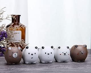 VanEnjoy Unique Cute Cartoon Modern Ceramic Elephants Cat Family Succulent Pots Planters Hydroponics Plants Faux Flower Vases, Elephant Ornaments Office Organizer Pencil Holder (Bears)
