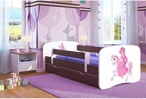 CARELLIA Kinderbett Prinzessin auf seinem Pferd 80cm   x 16cm   mit Barriere Sicherheitsschuhe + Lattenrost + Schubladen + Matratze Ofürt. Wenge