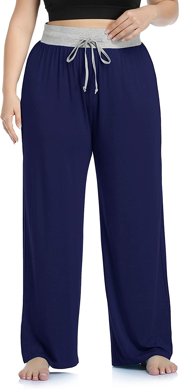 ZERDOCEAN Women's Plus Size Comfy Casual Pajama Pants Floral Print Drawstring Palazzo Lounge Pants Bottoms Wide Leg