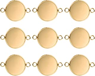 DROLE 25mm Gold Plated Jewelry Connectors Blank Bezel Tray Bracelet Fit 25mm Round Glass Dome Tiles
