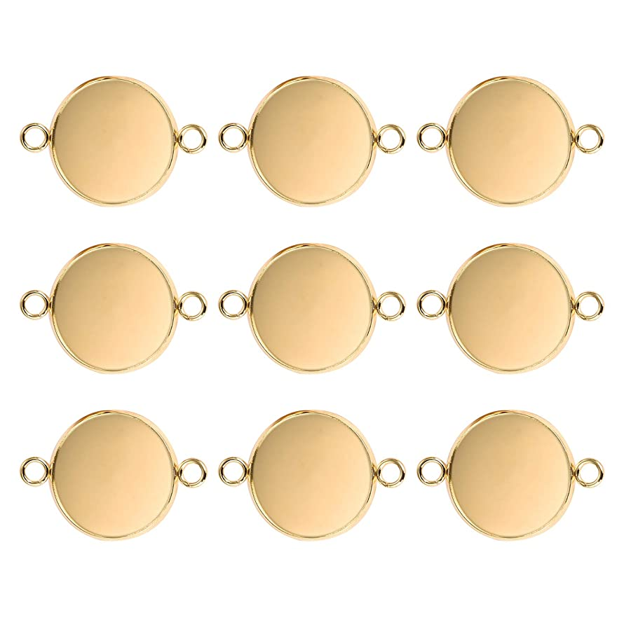 DROLE Bezel Pendant Trays Stainless Steel Double Hole Pendant Trays,20Pcs Gold Plated Pendant for Jewelry Making Fit 16mm Clear Glass Dome Cabochon