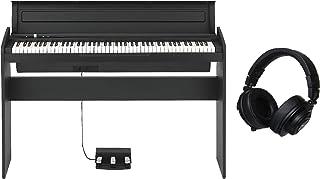 KORG 電子ピアノ LP-180-BK 88鍵 ブラック ペダル、譜面立て付属 アコースティック・ピアノタッチを再現したNH鍵盤 &ヘッドホンセット