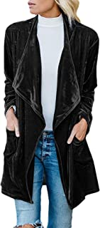 Women's Turn Down Collar Flight Windbreaker Gold Velvet Open Front Coat