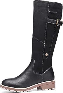gracosy Botas Altas Mujer Invierno 2020 Zapatos Tacon Ancho Bajo Nieve Piel Forrado Calentitas Botas Antideslizante Peso L...