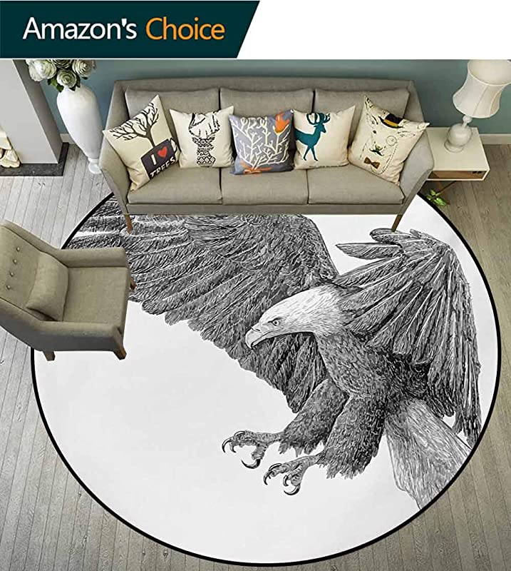RUGSMAT Eagle Anti Skid Area Rug Black And White Pencil Drawing Style Eagle With Detailed Features Wild Nature Green Soft Area Rugs Diameter 71 Inch Black Grey White