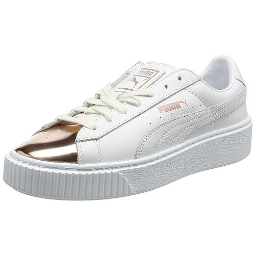 0ed86c4d0e Puma Damen Basket Platform Metallic Sneaker Weiß (White-Rose Gold) 40 EU