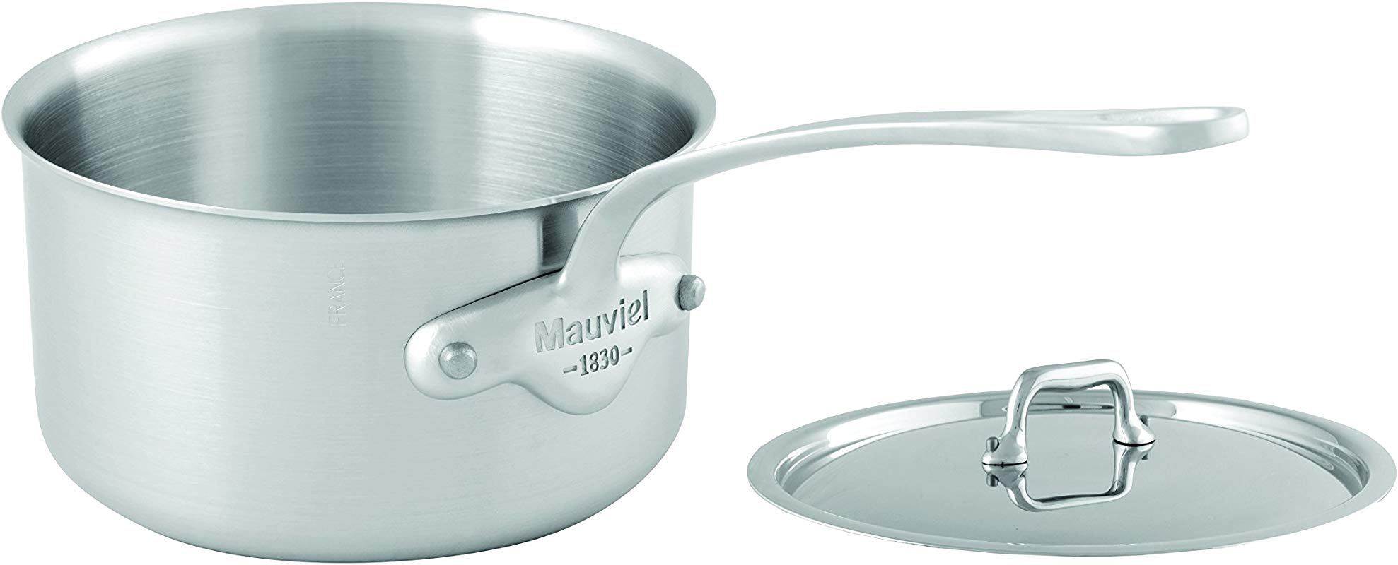Mauviel 5010 17 M Urban 16cm 6 3 Saucepan With Lid Cast SS Handle Tri Ply Stainless Steel Sauce Pan Brushed