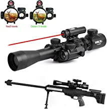 GOHIKING Tactical 3-9x40mm Illuminated Rifle Scope with Red Sight and Red Dot Sight of Red/Green Reticle Mount