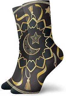 sky feng, Calcetines de anime árabe dorado patrón de lujo suave de secado rápido transpirable calcetines deportivos unisex de la tripulación calcetines de 30 cm