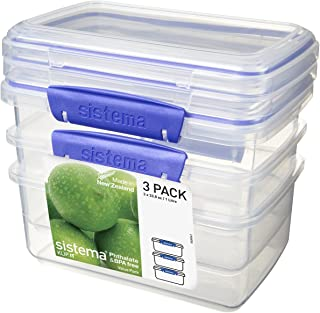 Sistema 1613ZS Pack 1 Litre x 3 Food Storage Container, Clear