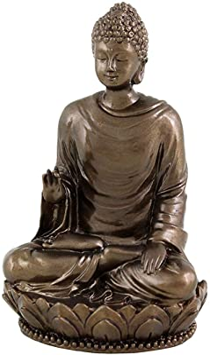 Small Gold Tone Sitting Happy Buddha Statue and Buddha Eye Magnet Gift Set