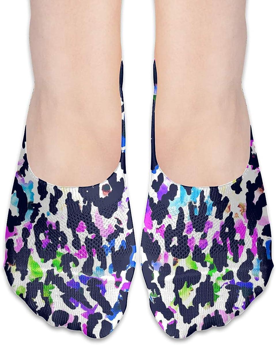 No Show Socks Women Men For Watercolor Leopard Tie Dye Flats Cotton Ultra Low Cut Liner Socks Non Slip