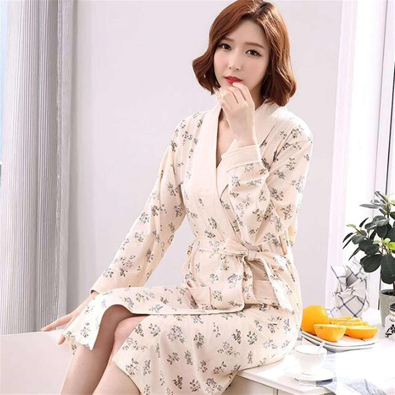 Soft Cozy Women Elegant Cotton Bathrobe Long Sleeves Flowers Pattern Nightgown Pajamas Cardigan Bathrobe Bathrobe for Women (color   Khaki, Size   XL)