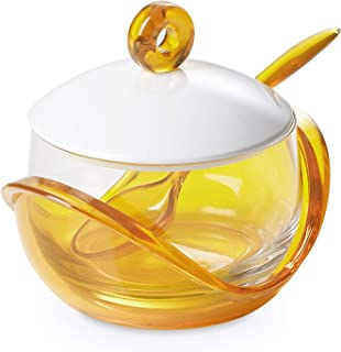 Cheese or sugar bowl with transparent glass container, base, lid and spoon in plastic Yellow, ergonomic and with an innova...