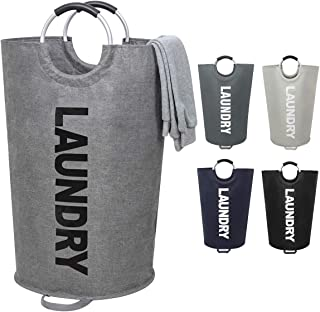 121L Extra Large Laundry Basket Collapsible Fabric Laundry Hamper Tall Dorm Laundry Bag with Handles Waterproof Portable Washing Bin Dirty Clothes Basket for College Essentials Storage (XL Gray)